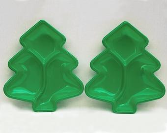 Vintage Green Christmas Tree Shaped Plastic Trays Set of 2