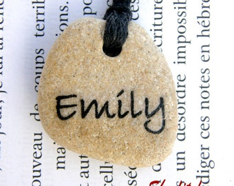 My name necklace, name necklace, name pendant,name jewelry, name jewel, beach stone necklace,name pendant, stone necklace, my name