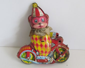 Tin Wind Up Toys Bear on a Motorcycle Circus Toy Antique Tin Toys Tin Motorcycle toy Antique Tin Toy Antique Motorcycle Toy