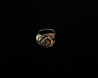 Vintage Sterling Silver Carved Rose Ring