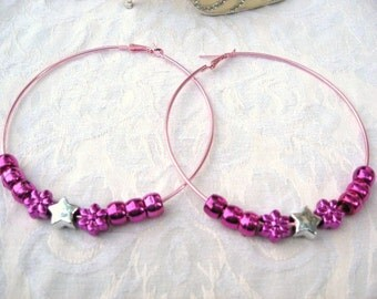 Pink Hoops Earrings  / Women / Teen Jewelry / Pierced Earrings / women's jewelry