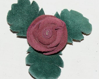 Maroon Button Rose Pin