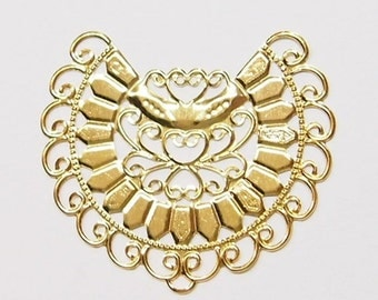 20 of 3/4 Round Gold Filigree Stampings or Connectors, Great for Necklaces or Earrings