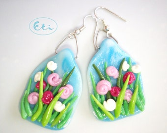 Vibrant blooming meadow, spring flowers, earrings, air dry clay, cold porcelain, unique arty chic