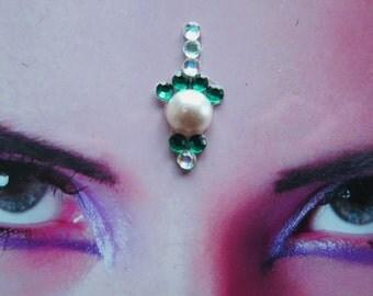 Holly bindi - tribal fusion bellydance accessory - hindu woman jewelry - winter white green rhinestone bindi - fantasy