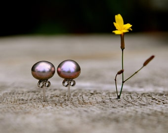 8-9mm lilac pearl studs, lavender pearl earring studs