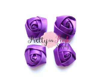 "Purple Satin Rolled Rosettes Lot of 4...Satin Rolled Rosettes...Mini Rolled Rosettes...1.5"" Rosettes"