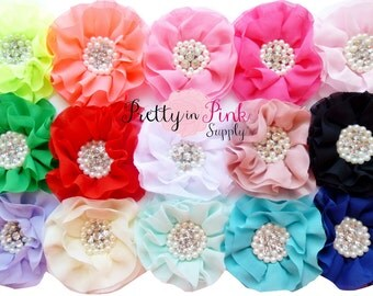 "GRAB BAG- Chiffon Pearl Rhinestone Flowers- You Choose Quanity and Color- Large 4"" Chiffon Flowers"