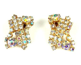 Vintage Aurora Borealis Rhinestone Earrings