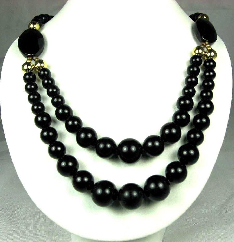 vintage two strand black plastic bead necklace