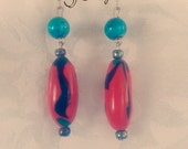Turquoise and orange polymer clay earrings