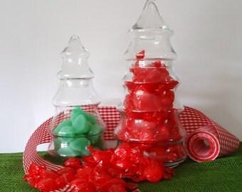 Vintage Christmas, candy jars, apothecary jars, Christmas decor, candy bar