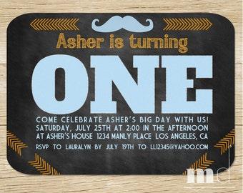 Little Man Chalkboard 1st Birthday Boy Invitation - Boy Mustache First Birthday - 1st, 2nd, 3rd Boy's Invite - Blue and Orange Printable