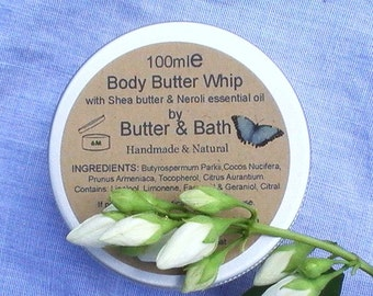 Vegan Body Butter with Orange Blossom Whipped Body Butter Lotion for Dry Skin, All Natural Neroli Body Butter