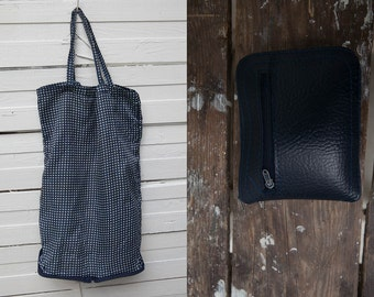 Blue Foldable Grocery Bag / 80s Vintage Small Foldable Dark Blue Navy Blue Polka Dot Shopping Hand Bag / Wallet Purse / Retro Reusable Bag