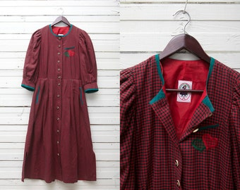 Vintage Peasant Dress / 70s Green Red Checked Jute Linen Midi Three Quarter Sleeve Corset Button Up Dress / Size 36 / L Size Women Gown