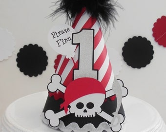 Pirate Birthday Party Hat- Red and White Striped, Black - Personalized - Pirate Party