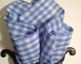 pocket square sky-blue and white checked