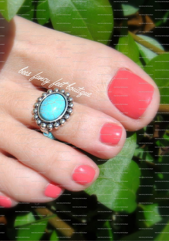 Toe Ring - Turquoise Stone - Metal Based Stretch Bead Toe Ring