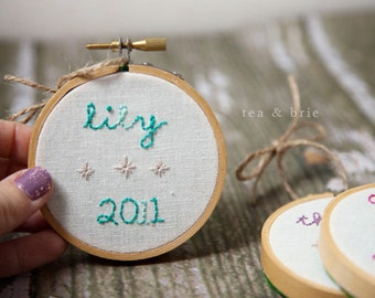CUSTOM personalized hand embroidery hoop ornament commemorative first christmas