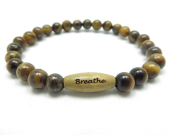 Breathe Mala Bracelet Yoga Jewelry Spiritual Protection Tiger Eye Wrist Mala Meditation Beads Zen Christmas Stocking Stuffer Unique Gift