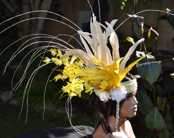 Yellow feather and flower headband