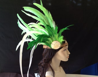 Green and white feather headband