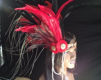 Red and black feather headband