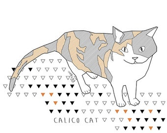 calico cat Etsy  illustration for the wall