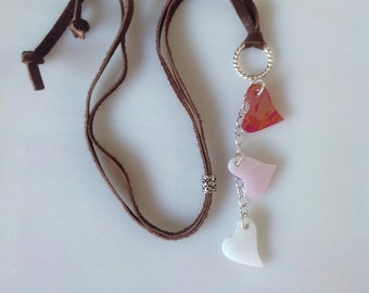 Pink Red and White  Wispy Iridescent Dangling Glass Heart Necklace