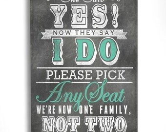 Wedding Seating Assignment Sign for Ceremony- Pick a Seat not a Side