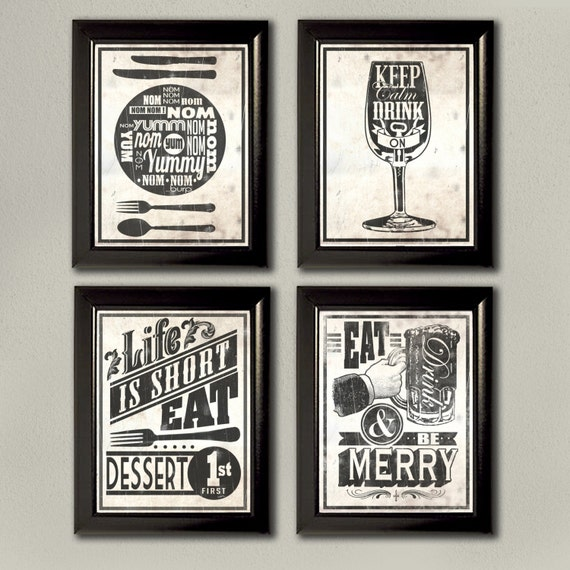 Art Prints For Kitchen Wall: Kitchen Typography Wall Art Prints 4 Set Keep By