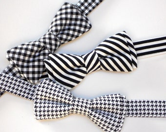 Black bow tie for toddler boy, formal attire for boys, black and white bow tie for newborn boy photo prop, houndstooth bow tie
