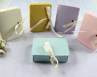 "50 Pastel 2.75"" x 2.125"" Favor Box with Bow,Wedding, Bridal Shower, Baby Shower, Party Favor Gift."