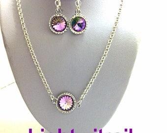 Purple Vitrail Swarovski crystal set