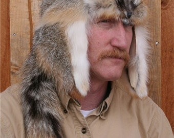Gray Fox Mountain Man Fur Hat
