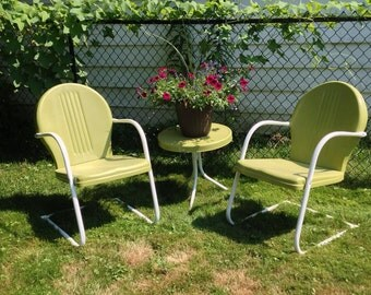 Vintage lawn chairs 1950s metal folding chairs by 86home on etsy - Popular Items For Metal Lawn Chair On Etsy