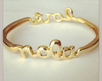 "Gold Plated ""NOLA - LOVE"" Bangle Bracelet"