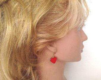 Red heart dangle earrings