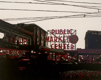 Evening at Pike Place Market linocut relief print