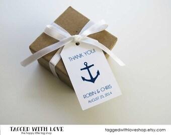 Thank You - MEDIUM Size - Anchor Wedding Favor Tags  - 36 Pieces