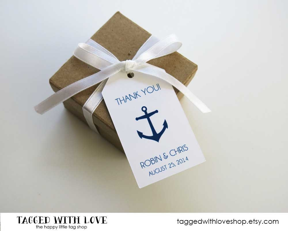 Wedding Favor Tags With Photo : Wedding Favor Tag Anchor Wedding Nautical Wedding Navy