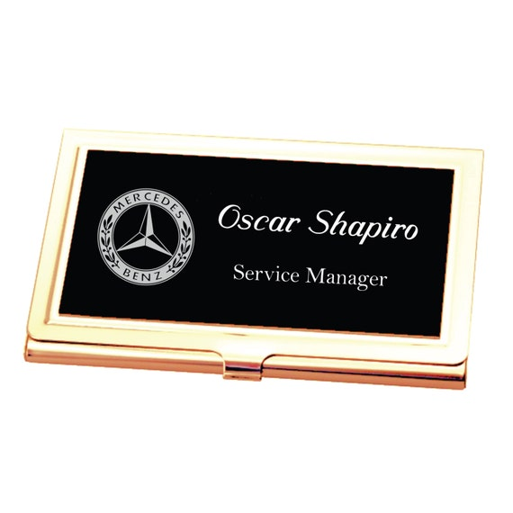 Personalized Black And Gold Business Credit Card Holder Case