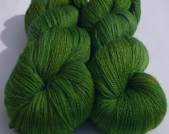 Hand dyed yarn - lace weight 55/45 Superwash BFL and silk -forest