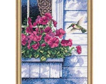 Cross Stitch Kit - Flowers and Hummingbirds