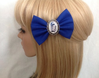 Star Wars R2D2 hair bow clip rockabilly psychobilly disney kawaii pin up fabric blue Darth vader c3po geek Luke skywalker ladies girls women