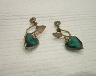Antique Faceted Cut Green Crystal Heart Shaped Dangle Earrings