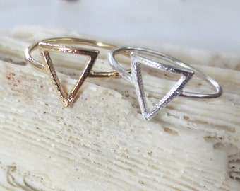 Triangle ring, gold triangle ring, silver triangle rings, triangle mid rings, triangle knuckle rings, triangle midi ring