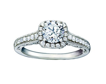 Certified diamond engagement ring 0.80 ct w 14 k white gold hand made antique design