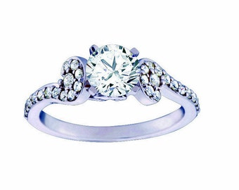 Certified diamond engagement ring 0.88  ctw 14 k white gold hand made